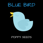 blue bird poppy seeds emblem
